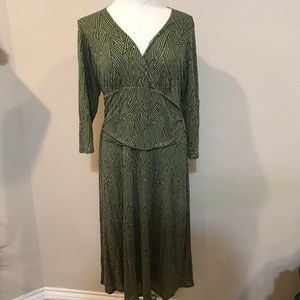 BODEN 16R Green and Brown dress with side ruching